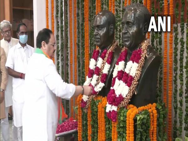 JP Nadda pays floral tribute to Deendayal Upadhyaya on his 105th birth anniversary (Photo/ANI)