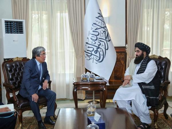 Afghanistan's acting foreign minister Mawlawi Amir Khan Muttaqi met with Alimkhan Esengildiev, the Ambassador of Kazakh. (Photo Credit: Abdul Qahar Balkhi Twitter)