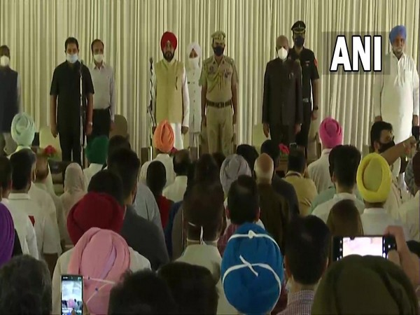 A visual from the swearing-in ceremony held at Raj Bhavan in Chandigarh on Sunday. (Photo/ANI)