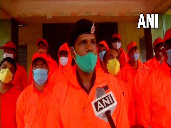 NDRF team commander speaking to ANI in Andhra Pradesh's  Kalingapatnam on Sunday. (Photo/ANI)