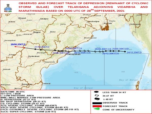 Visual representation of depression over Telangana and adjoining  Marathwada amd Vidarbha. (Photo/IMD)