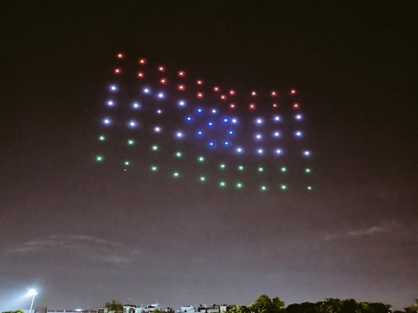 Indian flag at all-Indian drone light show organised by Drone Federation of India