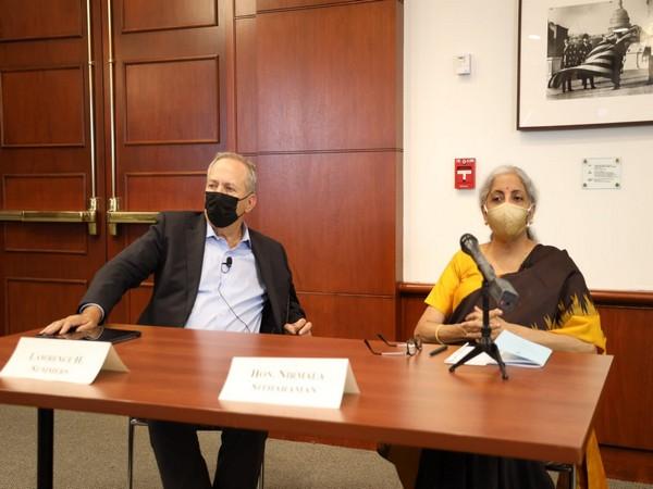 Union Finance Minister Nirmala Sitharaman at an event in Boston, US. (Photo/ANI)