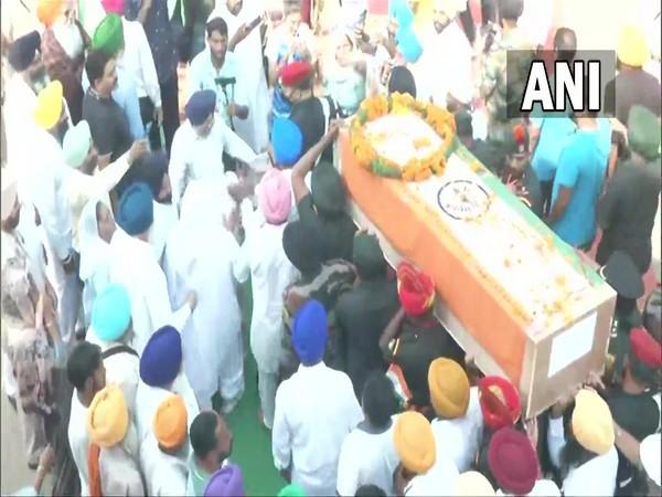 Body of Jaswinder Singh killed in J-K's Poonch encounter reach his native village in Punjab (Photo/ANI)