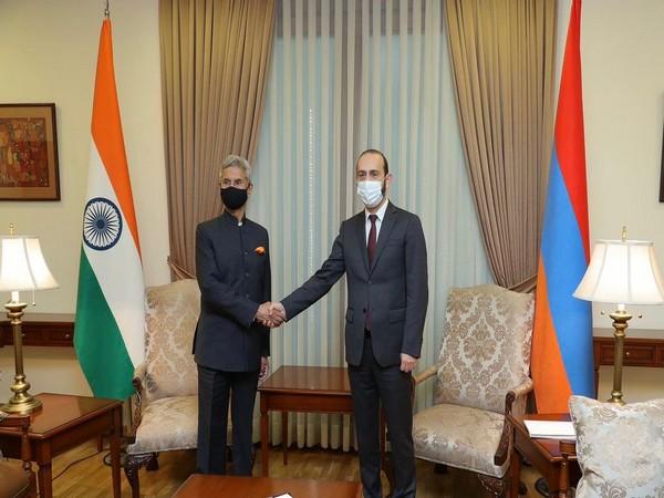 External Affairs Minister S Jaishankar and Armenian Foreign Minister Ararat Mirzoyan in Yerevan. (Photo Courtesy: Twitter/DrSJaishankar)