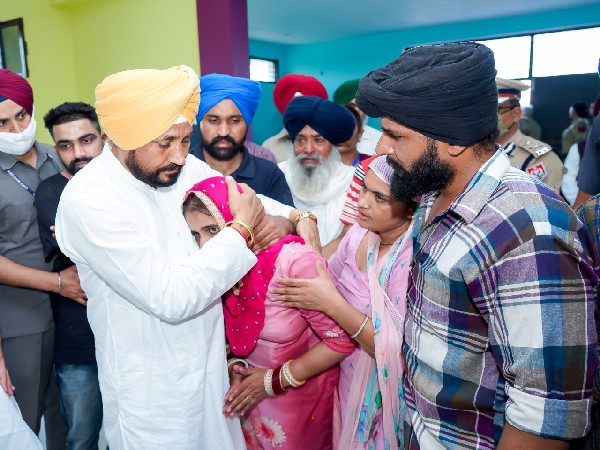 Punjab Chief Minister Charanjit Singh Channi meeting family members of soldier killed in Jammu and Kashmir's Poonch. (Photo/Twitter)