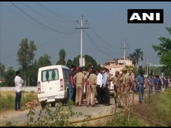 Visual of SIT with security forces in Lakhimpur Kheri district. (Photo/ANI)