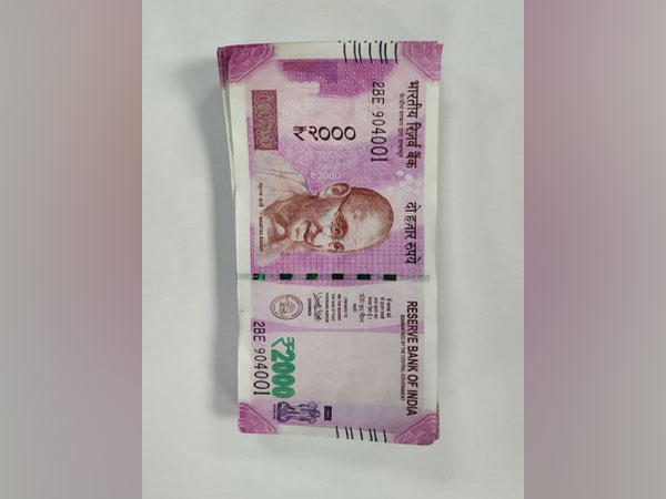 Seized counterfeit currency notes of Rs 2,000 denomination.