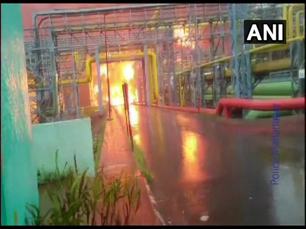 Fire breaks out at a cold storage at ONGC plant in Uran, Navi Mumbai. [Photo/ANI]