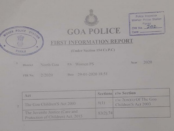 Copy of FIR filed by Goa-based children rights NGO -- Stop Child Abuse Now (SCAN). (Photo/ANI)