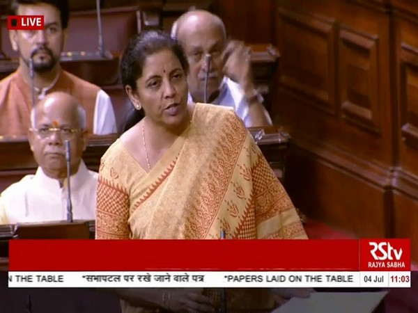 Finance Minister Nirmala Sitharaman in the Rajya Sabha on Thursday. Pic courtesy: Rajya Sabha TV