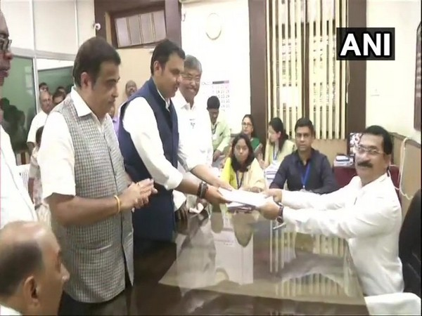 Maharahtra Chief Minister Devendra Fadnavis filing nomination from Nagpur South West on Friday. (Photo/ANI)