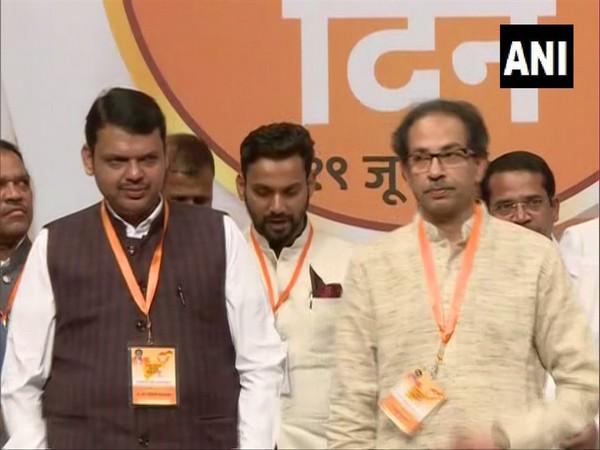 Maharashtra Chief Minister Devendra Fadnavis (left) and Shiv Sena chied Uddhav Thackrey (right) at an event in Maharashtra on Wednesday. Photo/ANI