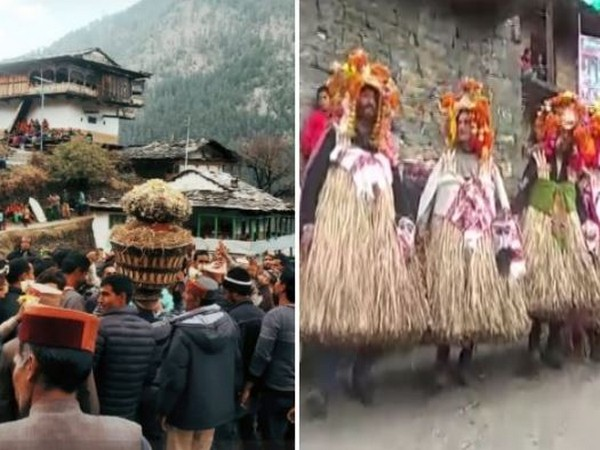 Traditional 'Fagli' festival was celebrated in Banjar of Kullu district on Thursday (Photo/ANI)