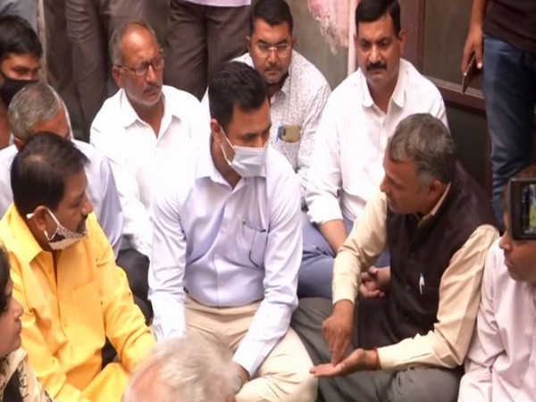 Faridabad Deputy Commissioner meets family of Ballabgarh murder victim on Wednesday. Photo/ANI