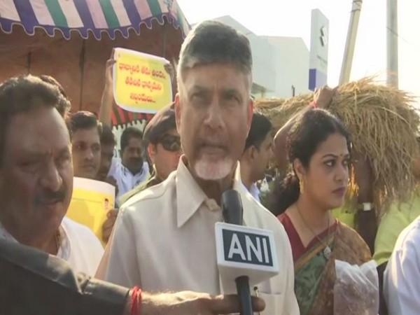 TDP chief N Chandrababu Naidu speaking to ANI in Amaravati on Tuesday. (Photo/ANI)