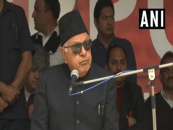 Farooq Abdullah speaking at a public rally in Srinagar. Photo/ANI