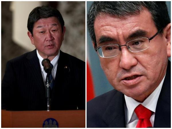 Japanese Foreign Affairs Minister Toshimitsu Motegi and Defence Minister Taro Kono