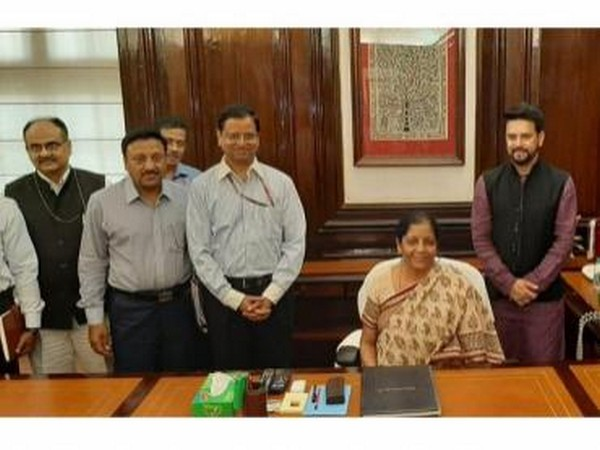 Sitharaman (seated) took over as India's first full-time woman finance minister on May 31