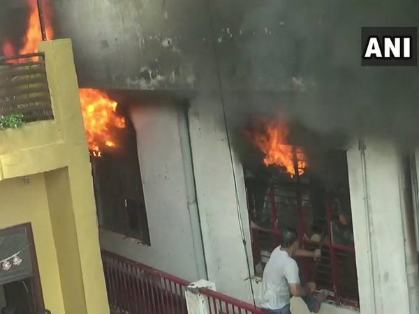 Eight fire tenders were pressed into service to douse the fire. Photo/ANI
