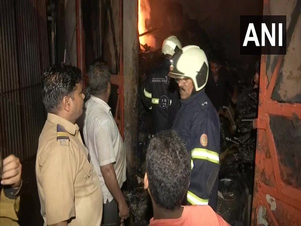 Visuals of the fire which broke out at the warehouse in Mumbai. Photo/ANI