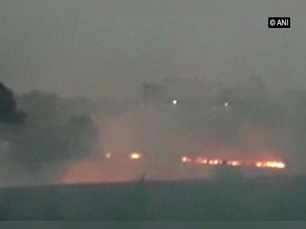 Stubble burning near Bhatia village in Ludhiana on Monday. Photo/ANI
