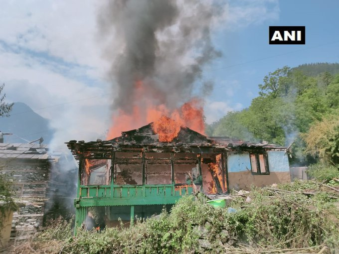 A fire that broke out at a three-storey wooden house in Kalwari village panchayat in Banjar area of  Kullu district on Sunday.