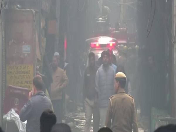 A visual from the site where the fire broke out in New Delhi on Sunday. Photo/ANI