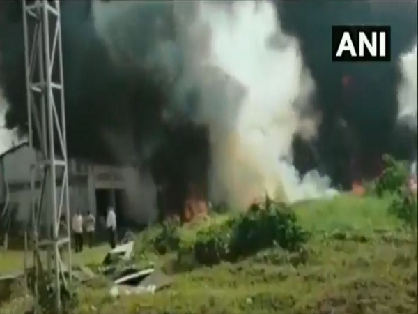 Smoke billows as fire broke out in an oil mill in Bardhaman town (Photo ANI)