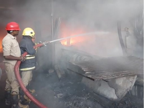 Firefighters dousing the fire in a plastic godown in Hyderabad on Thursday Photo/ANI
