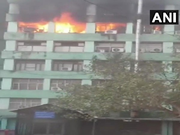 The fifth floor of CGO complex in South Delhi caught fire on Wednesday. (Photo/ANI)