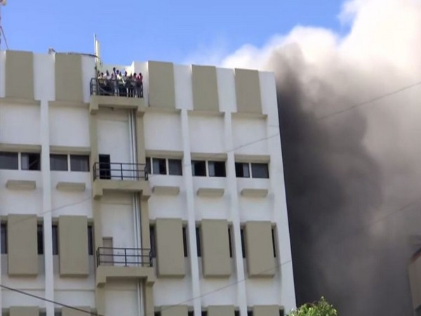 Fire breaks out at MTNL building on July 22. Photo/ANI