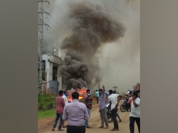 A fire broke out outside a pharma company in Andhra Pradesh's Visakhapatnam district on Tuesday. (Photo/ANI)