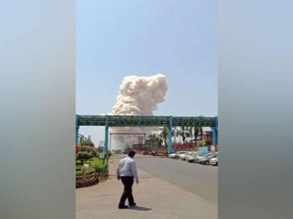 Fire breaks out at pharma company in Ratnagiri. (Photo/ ANI)