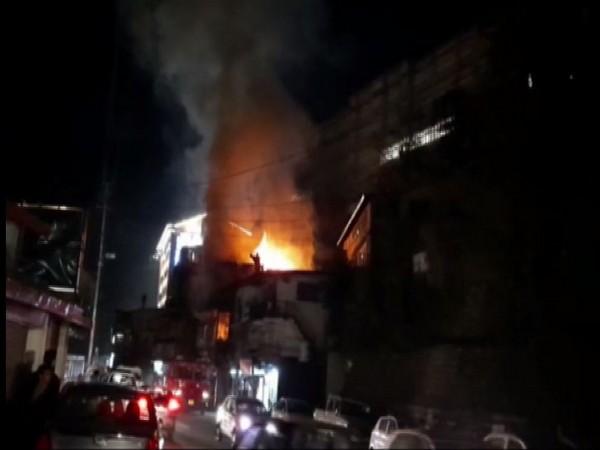 Fire engulfed a hardware shop in Shimla, Himachal Pradesh. Photo/ANI