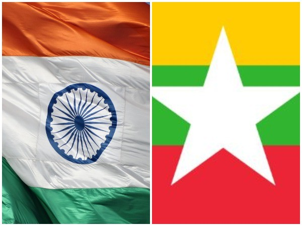 Indian and Myanmar flags
