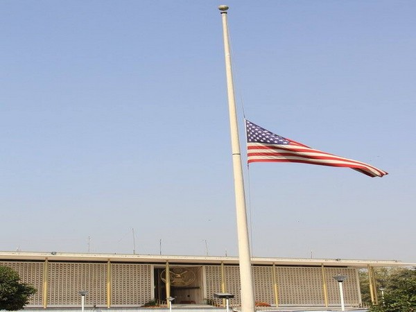 US flag flies at half-mast at American Embassy in New Delhi on Wednesday (Picture Credits- US Mission/Twitter)