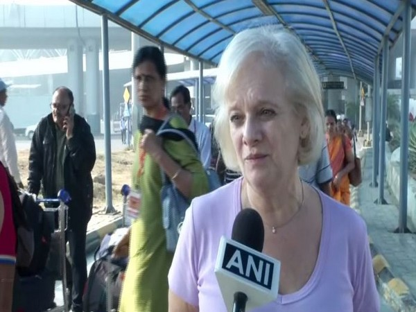 Kathryn, a citizen of London, at New Delhi Airport on Tuesday.