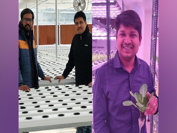 Founders of Rise Hydroponics - Meet Patel, Vivek Shukla & Tusshar Aggarwal at their Hydroponics Farm (Left to Right)