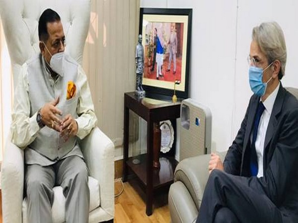 French Ambassador to India Emmanuel Lenain with Union Minister of State Jitendra Singh on Friday.