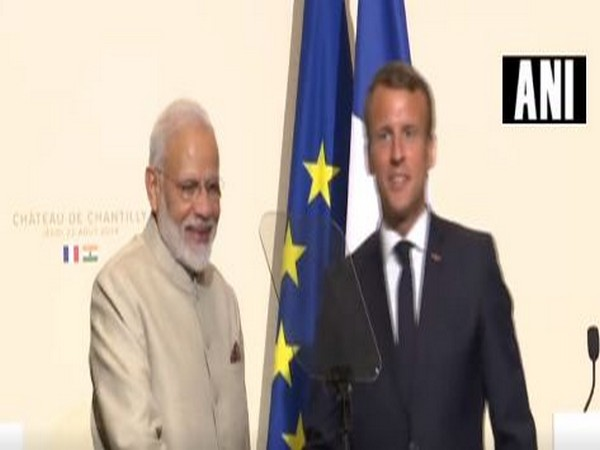 France President Emmanuel Macron in a joint interaction with Prime Minister Narendra Modi in Chantilly on Thursday