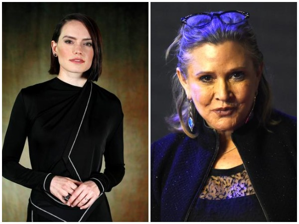 Daisy Ridley and Carrie Fisher.
