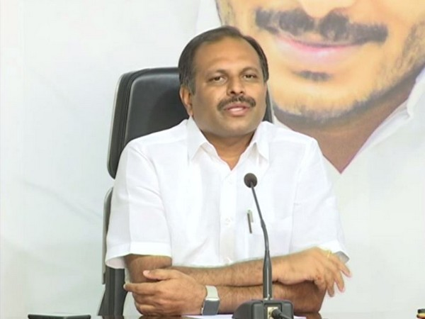 Andhra Pradesh Government Chief Whip Gadikota Srikanth Reddy addressing a press conference in Amaravati on Wednesday. Photo/ANI