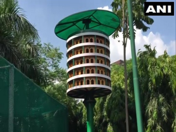 A multi-storeyed 'bird flat' set up by the Ghaziabad Development Authority. (Photo/ANI)