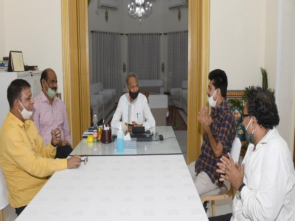 Rajasthan Chief Minister Ashok Gehlot meeting with independent MLAs at his residence in Jaipur on Tuesday. (Photo/ANI)