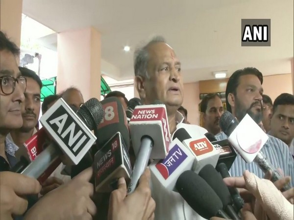 Rajasthan Chief Minister Ashok Gehlot while addressing the media on Saturday in Jaipur. (Photo: ANI)