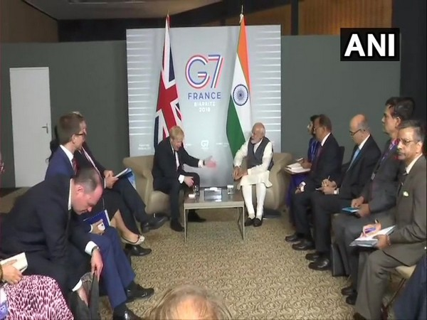 Prime Minister Narendra Modi meets Prime Minister of United Kingdom, Boris Johnson at the G7 Summit in Biarritz