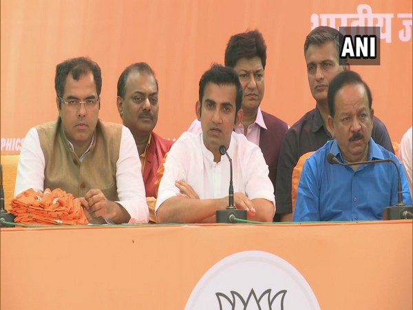 Newly elected BJP MP Gautam Gambhir speaking at a press conference in New Delhi on Saturday. Photo/ANI