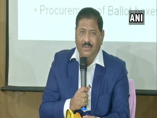 Telangana State Election Commission C Partha Sarathi addressing a press conference on Tuesday. (Photo/ANI)