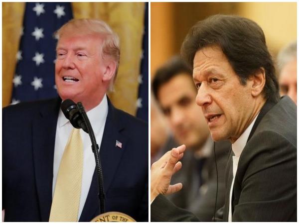 US President Donald Trump (L), Pakistan Prime Minister Imran Khan (R)